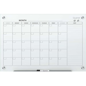 Quartet Infinity Magnetic Dry-Erase Calendar Board - Monthly, Daily - 1 Month - White - Tempered Glass - 36