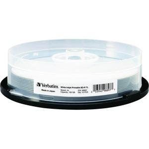 Verbatim BD-R XL 100GB 4X White Inkjet Printable-Hub Printable - 10pk Spindle - 100GB - 10