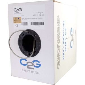 C2G 1000ft Cat5e Bulk Unshielded (UTP) Network Cable with Solid Conductors - Plenum