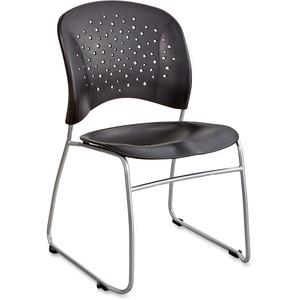 Safco Reve Sled Base Guest Chair - Black Plastic Seat - Black Plastic Back - Sled Base - 2 / Carton