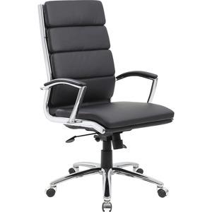 Boss Contemporary Executive Highback In Caressoft Plus - Black Vinyl Seat - Chrome, Black Chrome Frame - High Back - 5-star Base - Black - 1 Each