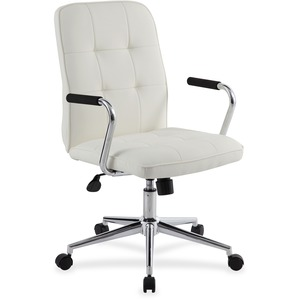 Boss Modern Office Chair with Chrome Arms - White Vinyl Seat - Chrome, Black Chrome Frame - 5-star Base - White - 1 Each