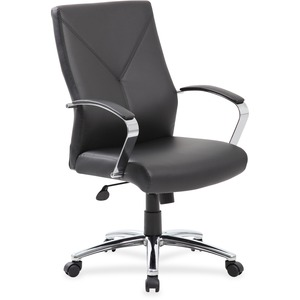Boss Leatherplus Executive Chair with Chrome Accent - Black LeatherPlus Seat - Chrome, Black Chrome Frame - 5-star Base - Black - 1 Each