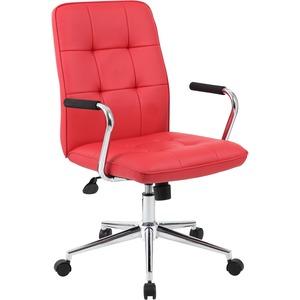 Boss Modern Office Chair with Chrome Arms - Red Vinyl Seat - Chrome, Black Chrome Frame - 5-star Base - Red - 1 Each