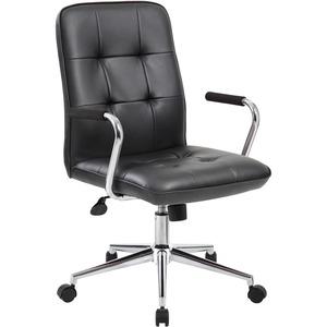 Boss Modern Office Chair with Chrome Arms - Black Vinyl Seat - Chrome, Black Chrome Frame - 5-star Base - Black - 1 Each