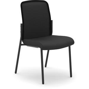 HON Instigate Mesh Back Stacking Chair - Black Fabric Seat - Black Back - Four-legged Base - 1 Each