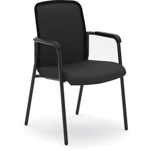 HON Instigate Stacking Chair - Black Fabric Seat - Black Back - Four-legged Base - 1 Each