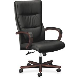 HON Topflight Executive High-Back Chair - Black Leather Seat - Black SofThread Leather Back - 5-star Base - Mahogany - 1 Each