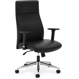 HON Define High-Back Executive Chair - Black SofThread Leather Seat - Black SofThread Leather Back - High Back - 5-star Base - 1 Each