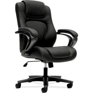 HON Mid-Back Task Chair - Black Vinyl Seat - Black Back - 5-star Base - 1 Each