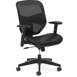 HON Prominent Mesh High-Back Task Chair - Black Mesh Seat - Black Back - 5-star Base - 1 Each