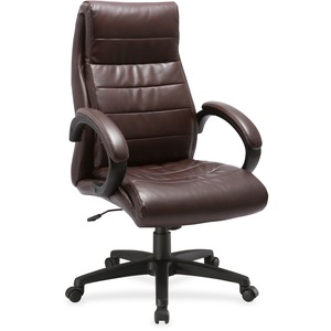Amazing Lorell Deluxe High Back Leather Chair Leather Seat Leather Back 5 Star Base Brown 27 Width X 32 Depth X 44 5 Height Theyellowbook Wood Chair Design Ideas Theyellowbookinfo