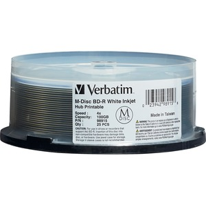 Verbatim Blu-ray Recordable Media - BD-R - 4x - 100 GB - 25 Pack Spindle - 120mm - Printab