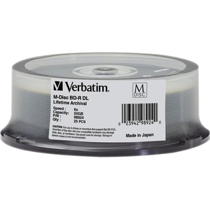 Verbatim Blu-ray Recordable Media - BD-R DL - 6x - 50 GB - 25 Pack Spindle - 120mm - Doubl