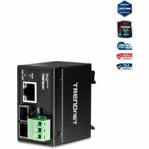 TRENDnet Hardened Industrial 100Base-FX Multi-Mode SC Fiber Converter; (2km; 1.2 Miles); I