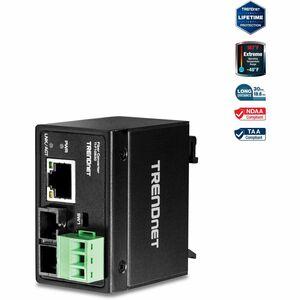 TRENDnet Hardened Industrial 100Base-FX Single-Mode SC Fiber Converter; (30 km; 18.6 Miles