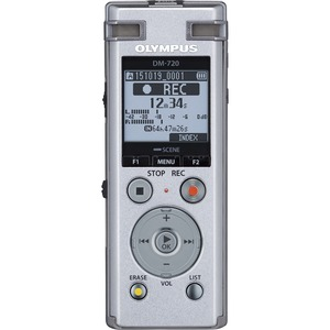 Olympus DM720 4GB Internal Memory 3-MICROPHONE System Noise Cancellation Voice Recorder - Silver