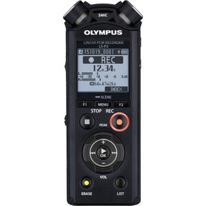 Olympus LS-P2 Linear PCM Rec 3-MICROPHONE System Built-in 8GB Memory MicroSD Slot Voice Recorder