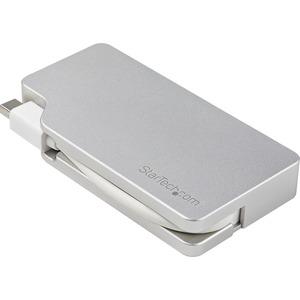 StarTech.com Aluminum Travel A/V Adapter: 3-in-1 Mini DisplayPort to VGA, DVI or HDMI | mDP Adapter | 4K