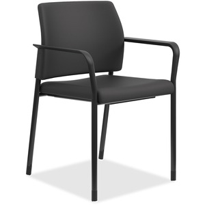 HON Accommodate Guest Chair, Fixed Arms - Black Fabric Seat - Black Fabric Back - Textured Black Steel Frame - Four-legged Base - Yes - 2 / Carton