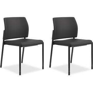 HON Accommodate Guest Chair, Armless - Black Fabric Seat - Black Fabric Back - Textured Black Steel Frame - Four-legged Base - 2 / Carton