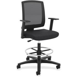 HON Torch Mesh Mid-Back Task Stool - Fabric Seat - Mid Back - 5-star Base - Black - Armrest - 1 Each