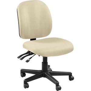 Lorell Mid-back Armless Task Chair - Fabric Seat - Fabric Back - Mid Back - 5-star Base - Beige, Buff - Nylon - 1 Each