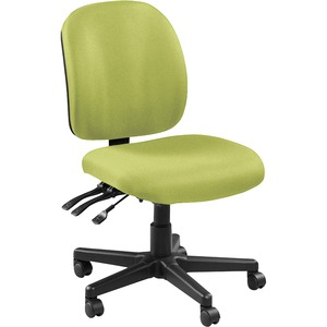 Lorell Mid-back Armless Task Chair - Fabric Seat - Fabric Back - Mid Back - 5-star Base - Green, Apple Green - 1 Each