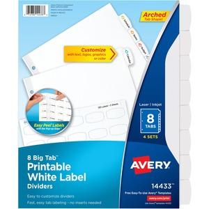 14433 avery big tab white label tab dividers 8 print on tab s 3