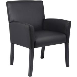 Boss Box Arm Guest Chair - Vinyl Seat - Four-legged Base - Black - 1 Each