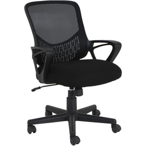 Lorell Value Collection Mesh Back Task Chair - Black Fabric Seat - Black Fabric Back - Mid Back - 1 Each