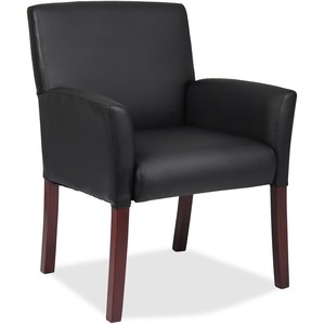 Boss B619 Guest Chair - Black Vinyl Seat - Mid Back - Four-legged Base - Black - Yes - 1 Each