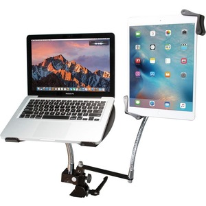 CTA Digital Heavy-Duty Dual Gooseneck Laptop Tablet Clamp Stand - 13inScreen Support - 22
