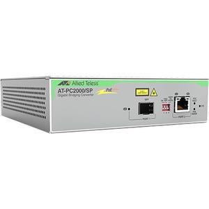 Allied Telesis PC2000/SP Transceiver/Media Converter - Network (RJ-45) - 1x PoE+ (RJ-45) P