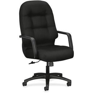 HON Pillow-Soft Executive Chair - Black Polyester Seat - Black Polyester Back - Black Frame - High Back - 5-star Base - 1 Each