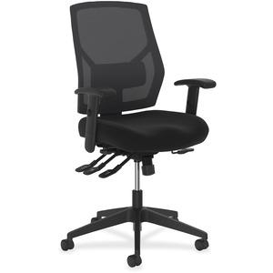HON Crio High-Back Task Chair - Black Fabric Seat - Black Back - Mid Back - 5-star Base - Armrest - 1 Each