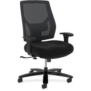 HON Crio High-Back Big And Tall Chair - Mid Back - 5-star Base - Black - 1 Each