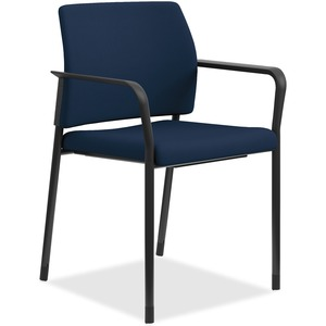 HON Accommodate Guest Chair, Fixed Arms - Navy Fabric, Polyester, Foam Seat - Steel Frame - 2 / Carton