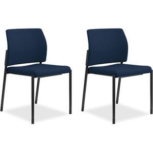 HON Accommodate Guest Chair, Armless - Navy Fabric, Polyester, Foam Seat - Steel Frame - 2 / Carton