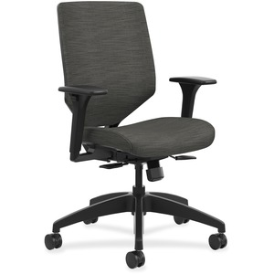 HON Solve Task Chair, Upholstered Back - Fabric Seat - Charcoal Fabric Back - Black Frame - Mid Back - 5-star Base - 1 Each
