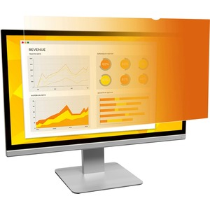 """3M Gold Privacy Filter for 24"""" Widescreen Monitor Gold, Glossy, Black"""