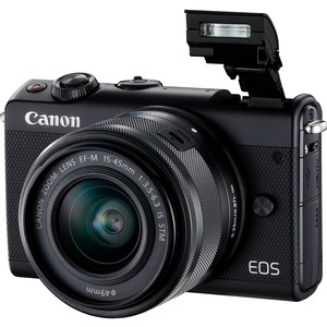 Canon EOS M100 24 Megapixel Mirrorless Camera with Lens - 15 mm - 45 mm - Black
