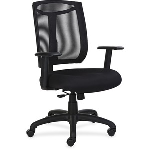 Lorell Mesh Back Chair with Air Grid Fabric Seat - Fabric Seat - Black - Yes - 1 Each