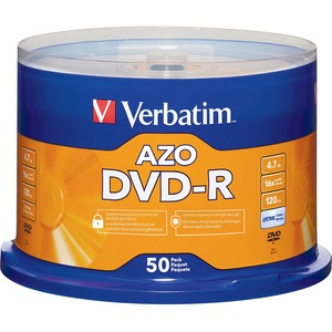 Verbatim AZO DVD-R 4.7GB 16X with Branded Surface - 50pk Spindle - 120mm - Single-layer La