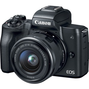 Canon EOS M50 24.1 Megapixel Mirrorless Camera with Lens - 15 mm - 45 mm (Lens 1)-55 mm -