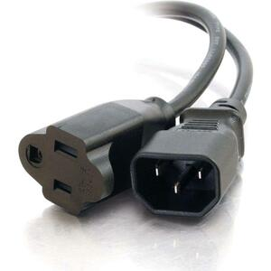 C2G 1ft 18 AWG Monitor Power Adapter Cord (IEC320C14 to NEMA 5-15R)