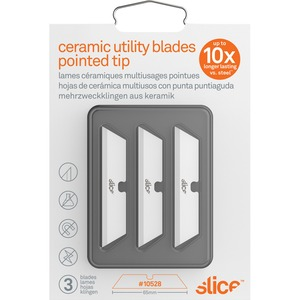 Slice, Inc Slice Pointed Tip Ceramic Utility Blades - 2 60 Length - Pointed  Tip, Non-conductive, Non-magnetic, Reversible, Retractable, Rust