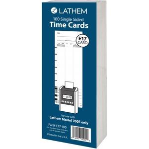 Lathem Model 700E Clock Single Sided Time Cards - White - Black Print Color - 100 / Pack