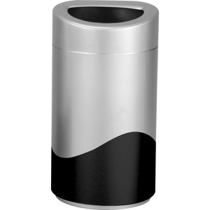 Safco Open Top Receptacle - 14 gal Capacity - Oval - Powder Coated - 29