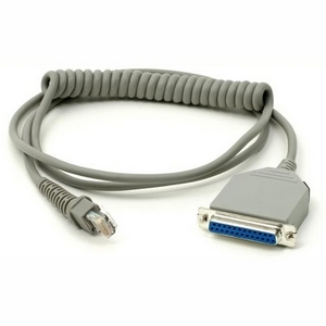 Unitech Scanner Coiled Cable - RJ-50 Male - D-Sub Female - 4.49ft - Gray
